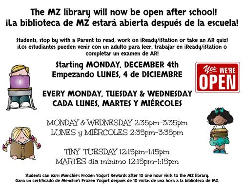 Library is now open in the afternoon
