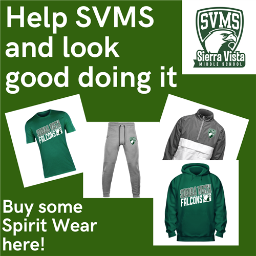 Help SVMS and look good doing it. Buy some Spirit Wear here!