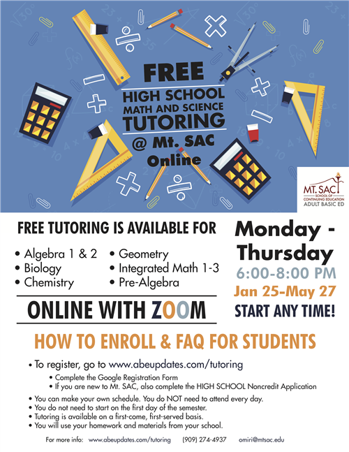 Math and Science Tutoring Flyer