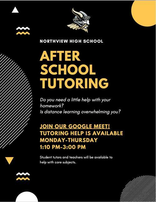After School Tutoring Mon-Thurs 1:10 pm - 3:00 pm