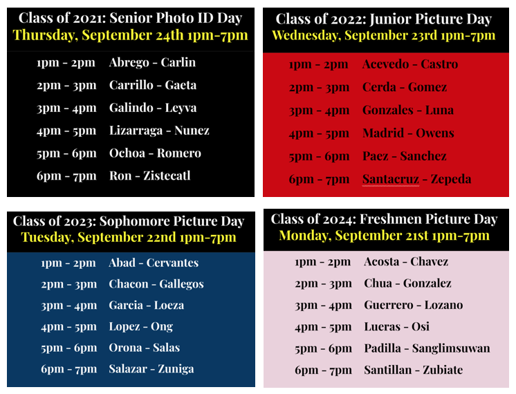 Picture Day Dates and Times