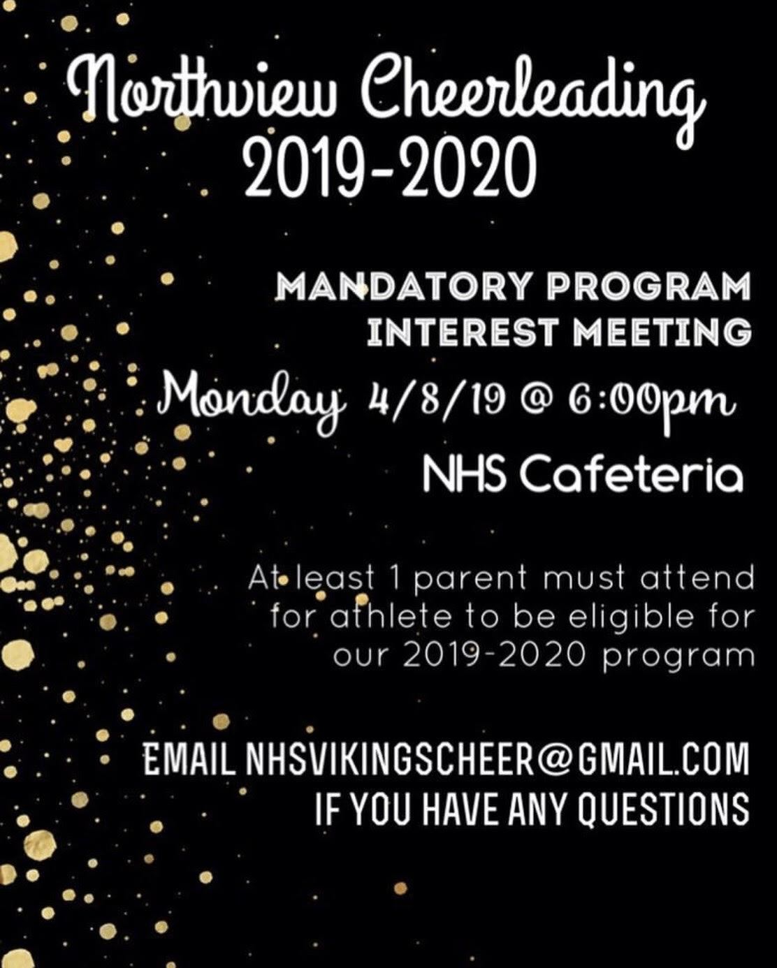 Mandatory Cheer Interest Meeting 4-8-19 at 6pm