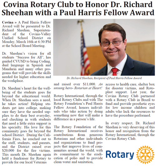 Covina Rotary to Honor Dr. Sheehan