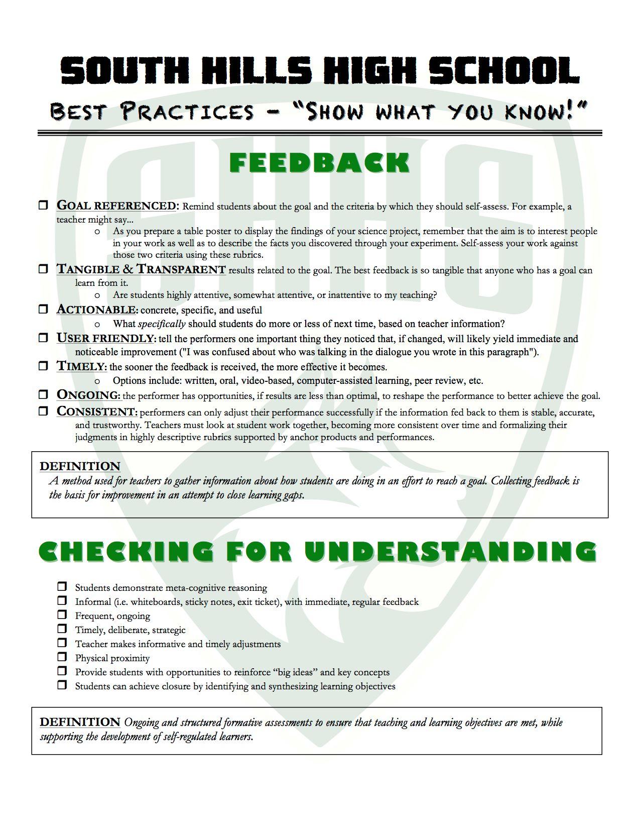 Instructional Focus South Hills Best Practices