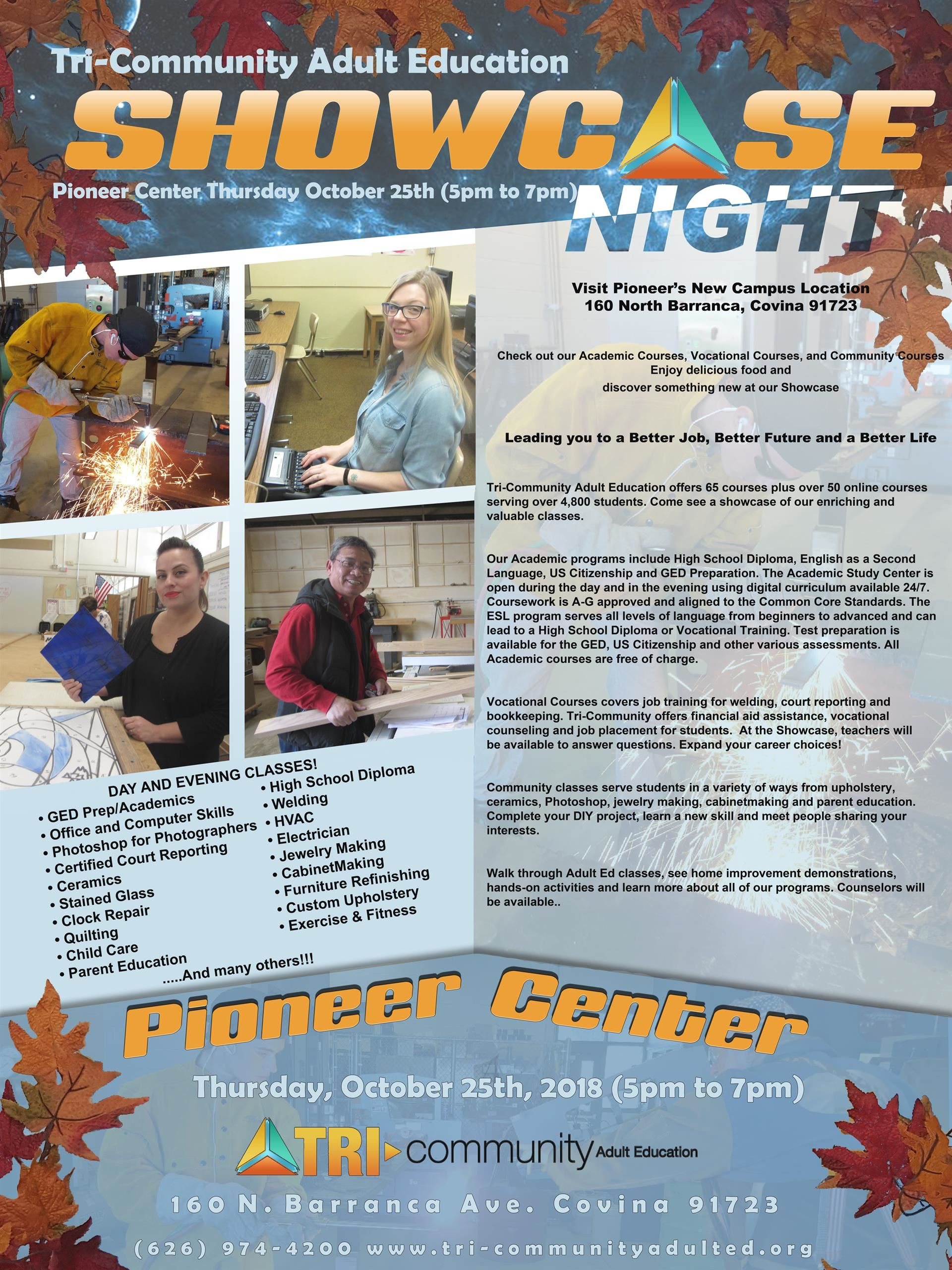 Tri-Community Adult Education Showcase Night flyer