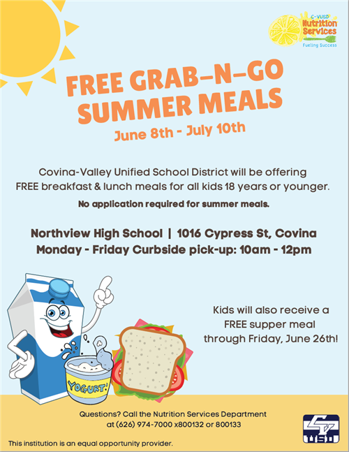 Free Grab-N-Go Summer Meals June 8-July 10